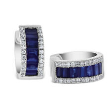 Real 1.88 CT Natural Blue Sapphire Gemstone Earrings Solid 14K White Gold  Hoop