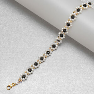"""Hand woven!Small White Pearl&Spinel Bracelet 14K Yellow Gold Filled Handmade 7"""""""