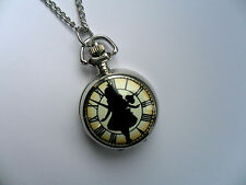 Unusual Silver Alice in Wonderland  Necklace Watch b