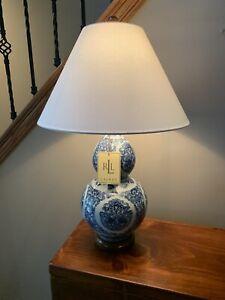 Ralph Lauren Vintage Inspired Zen Koi Fish Porcelain Blue White Table Lamp