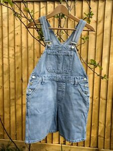 LOVELY VINTAGE LOOSE FIT SHORTS DUNGAREES PETROLIO SIZE S/M
