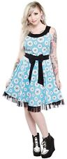 130346 Aqua Blue & Black Eye Wanna Dance Dress Sourpuss Creepy Party Small S