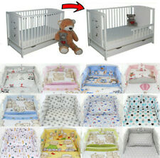Baby Cot Bed + Drawer + Toddler Barrier + 6-Pcs Bedding 60 Colours + Mattress