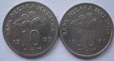 Malaysia 10 sen 1990 coin 2 pcs