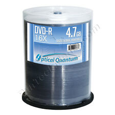 100 Optical Quantum 16x 4.7GB DVD-R Silver Thermal HUB Printable Blank Discs