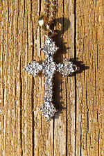 925 Gold Plated Diamond Cross, Italy