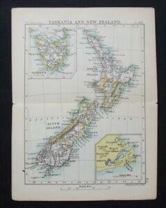 Antique Map: New Zealand & Tasmania by John Bartholomew, Pocket Atlas, 1890