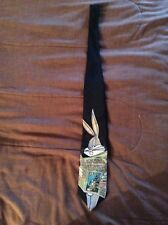 Looney Tunes Stamp Collection Bugs Bunny Novelty Black Necktie Tie 1997