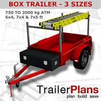 Trailer Plans - BOX TRAILER PLANS - 3 sizes - 6x4, 7x4, & 7x5ft - Plans on USB