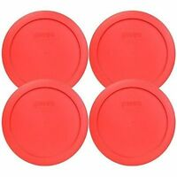 "Pyrex 7201-PC 6"" Red Round Replacement Cover Lid New for 4 Cup Glass Bowl 4PK"