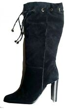 "Black Suede Leather Womens knee-high Boot 4"" Heel UK 6 NEW BOXED"
