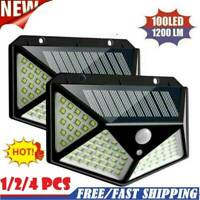 1-4pcs 100 LED Solar Power PIR Motion Sensor Wall Light Garden Lamp Waterproof