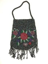 Cute Small Black Micro Beaded Handbag Purse with Floral Design & Beaded Fringe