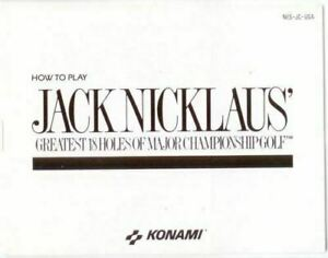 Jack Nicklaus Golf 18 Greatest Holes Original Nintendo NES Manual