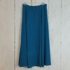 Womens Skirt sz L Silk house 100% Silk Teal Peacock Long Loose Flowy Maxi C