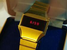 Reloj de Cuarzo Vintage Suizo 5 funciones presidente LED Digital década de 1970 Caja Manual