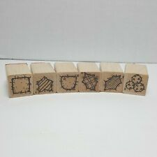 Vintage Wood Mounted Miniature Stamps Abstract Shapes