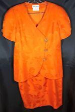Albert Nipon Orange Cotton Skirt Suit with Rhinestone Buttons - Size 12