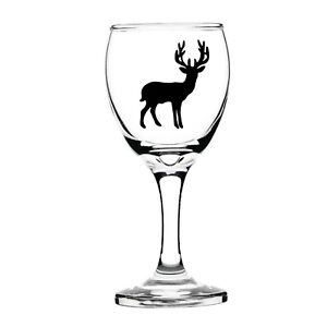 STAG DEER VINYL STICKERS FOR WINE GLASS X 6