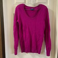 Old Navy Women's Magenta Scoop Neck Long Sleeve Sweater S