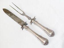 Antique Gorham Sterling Silver 1904 Villa Norfolk Carving Fork Knife 2 Piece Set