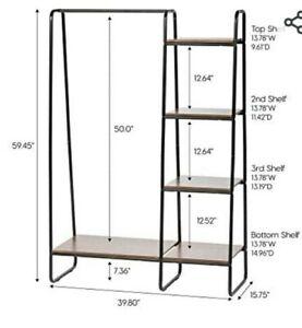 IRIS USA PI-B3 Standing Garment Metal, Clothing Rack with Bottom Shelf, Black