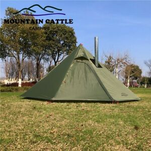 OUTDOOR CAMPING Teepee Tent with Chimney Hole Pyramid 4 Person Ultralight Tent