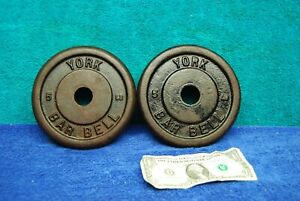 2pc pair 5lb x 2 = 10lb Vintage York Barbell Cast Iron Weight Lifting Plates