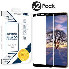 2 Pack For Samsung Galaxy S8 3D Full Cover Tempered Glass Screen Protector Black