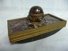 MOST BEAUTIFUL ANTIQUE MARBLE & BRONZE INK BLOTTER w/LION HEADS