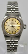 ROLEX OYSTER PERPETUAL 18K WHITE GOLD AND STAINLESS WATCH LADY'S BOX & PAPERS