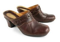Clarks Artisan Brown Leather Block Heel Clogs Slip On Shoes Women's 7 M
