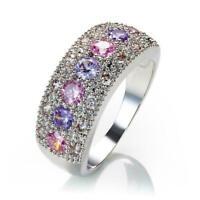 Überzug Zirkon Ring Edelstein Ehering Mode Ring USA 6-10 Größe: A4D3