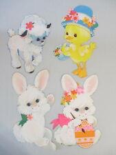 Vintage Spring Easter Lamb Duck in Hat Bunny Egg Cardboard Diecut Decoration Lot