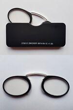 Design Zwicker schwarz matt Lesehilfe Kneifer Notbrille Metall+ Kunststoff+ Etui