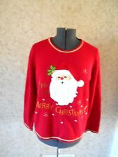 Goofy Santa Claus Ugly Christmas Sweater Party Red Crewneck Pullover Womens XL