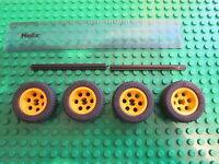 Lego 4 x Yellow Hub Technic Wheels 30.4 14 VR + Black Rubber Tyre + 2 No 8 Axles