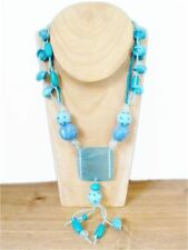 Turquoise Glass Statement Costume Necklaces & Pendants