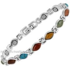 LADIES MAGNET HEALING BRACELET SILVER OVAL STONE BANGLE ARTHRITIS PAIN RELIEF 97