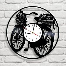 Vinyl record wall clock French Bicycle home art shop playroom coffee shop pub 5