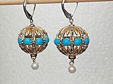 Gems En Vogue Sleeping Beauty Turquoise, Pearl Earrings,Sterling/Palladium 925