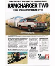 1983 Dodge Ramcharger Two Truck towing  Airstream Travel Trailer Vtg Print Ad