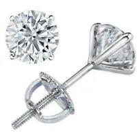 2.25 ct ROUND CUT diamond stud earrings 14k WHITE GOLD COLOR D VS2-SI1