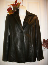 Casual Corner Size S Black Leather Jacket Ultra Soft 3 Button White Stitching