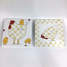 2 Blue Sky Clayworks Hen Country Farm Chicken Porcelain Tile Trivets Wall Hang