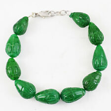 230.00 Cts Earth Mined Pear Shape Green Emerald Carved Beads Handmade Bracelet