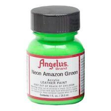 Angelus Acrylic Leather Paint Water Resistant Neon Amazon Green - 1 Fl.Oz