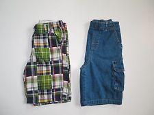 CRAZY 8 BOYS LOT OF 2 PLAID DENIM SHORTS CLOTHES (B8)  SZ 7