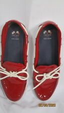 Cole Haan Red Patent Deck Shoes 9B White Trim Great Condition