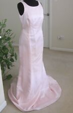 NICOLE MILLER PINK SATIN EVENING GOWN, SIZE 8